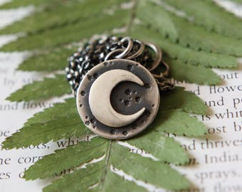 Crescent Moon Necklace. Moon Phases. Charm Necklace. Silver Moon. Hammered Necklace. Silver Disc. Oxidised Silver. Bohemian.