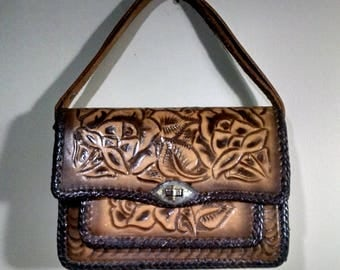 Vintage Tooled Leather Handbag / Hand Tooled Leather Purse / Mexico / 1960's - 1970's
