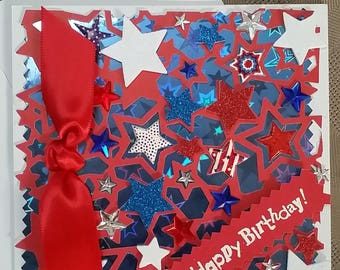 Red White Blue Birthday Card with Envelope