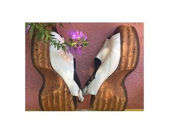 1970s white  Leather Cork Platform Wedge Mules Shoes // size eu 37-uk4-us