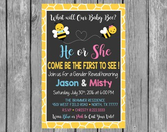 Bee Gender Reveal Invitation What Will Baby Bee Invitation