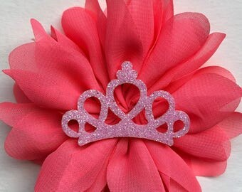 Crown Headband, Pink Crown, Pink Flower Bow, Birthday Headband