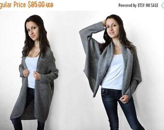 30% OFF Loose sweater Plus size sweater Knit cardigan Cozy Multi size Gray sweater Long sweater coat Short overcoat Womens sweaters