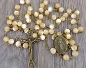 Mother of Pearl Rosary in Antique Bronze