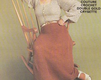 Womens crochet blouse & long skirt vintage crochet pattern pdf INSTANT download pattern only