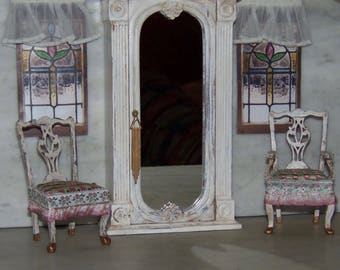 Gorgeous Mirrored Armoire for 1:12th Dollhouse.  Greek Revival Painted in French Country Style.