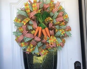 Spring Wreath Spring Door Hanger Deco Mesh Burlap Deco Mesh Housewarming Front Door Decor Easter Wreath Easter Decor Easter Door Hanger