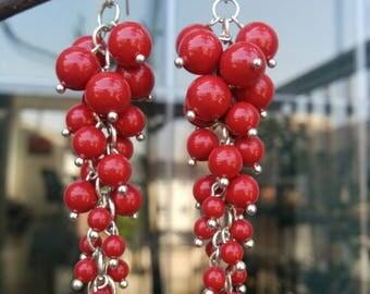 Red Currant Swaroscki Pearl Earrings
