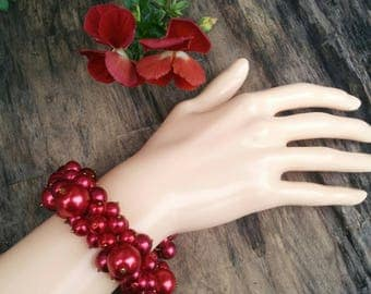 Red Grapes Pearl Bracelet