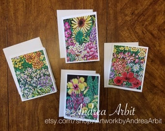 Flower Drawing Prints - Class Bouquet Set - Pack of 4 Blank A2 Notecards