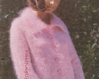 Knitting Pattern PDF Womens Mohair Cardigan and Hat  30 - 46