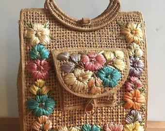 Vintage 60's Straw Bag Colorful Floral Rafia Design
