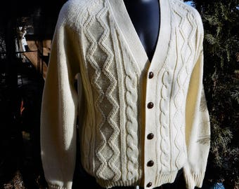 Awesome Vtg Mens Gino De Roma Knits  1970's Acrylic Knit Off-White Cable Knit Fishermans Sweater Cardigan sz M