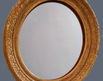 Antique french mirror or frame, antique oval mirror gilted with gold leaf