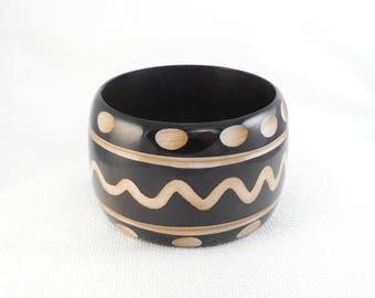 Vintage 40's Satin Carved Wide Celluloid Bangle Bracelet Hand Carved Black and Beige Celluloid Bangle Bracelet Statement Bangle Bracelet