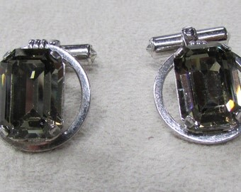 Destino Sterling Silver and Crystal Cuff Links