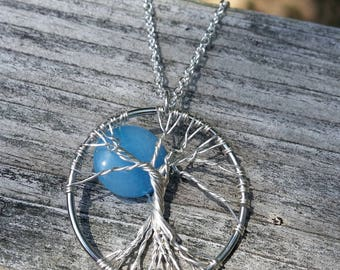 Tree of Life Necklace- blue moon