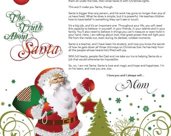 EDITABLE The Truth About Santa Letter / Truth About Santa / IMMEDIATE DOWNLOAD Printable Digital File