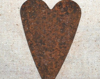 "18 Primitive VERY Rusty Tin 3"" HEARTS --- crafts"