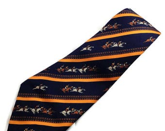 1970s Wide Silk Tie with Horseracing Theme