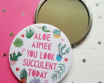 Succulent Pocket Mirror - Cactus pocket mirror - gift for friend - stocking stuffer - stocking filler - beauty pocket mirror -cactus mirror