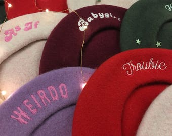 Embroidered Wool Beret Hat – Slouchy Beret – Personalized Embroidery + Choice of Color: Blush Pink Red Lilac Wine Green Blue Black
