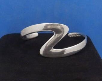 Vintage 950 Fine Silver Taxco Mexico TB-41 Modernist ZIG ZAG Cuff Bracelet