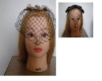 Vintage Black Womens Hats - Flowers with Veil; Black Velvet with Veil and Flowers