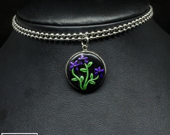 Small Stainless Steel Purple Flowers Round Clay Pendant w/ Ball Chain