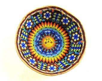 Huichol large beaded gourd bowl, 7 1/2 wide