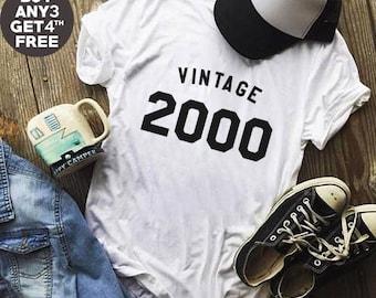 Vintage Tees 18th Birthday Gifts Shirt 2000 Birthday Teen Shirt Ladies Graphic Shirt Women Hipster Shirt Gifts Funny Tees Shirt Men Tshirt