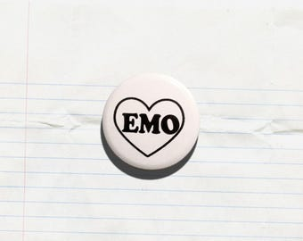 Emo - 1.25 inch Pinback Button, Badge, Pin, Pin-back, Novelty, Emotional, Shy, Quiet, Introvert, Sensitive, Sad, Anxiety, Loner, Empath