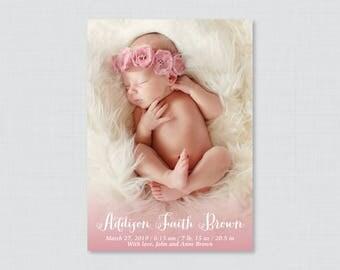Printable or Printed Photo Birth Announcement Cards - Custom Photo Birth Announcements,  Birth Announcement Veritcal/Portrait Photo BA25
