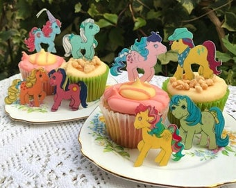 Edible My Little Pony Vintage G1 Figure Wafer Rice Paper MLP Retro Ice Crystal Gingerbread Cupcake Topper Wedding Cake Cookie Decoration