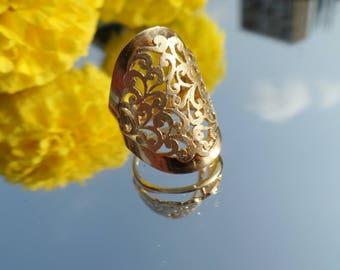 Filigree gold ring, GOLD Filled designer Ring ,gold lace ring, gold jewelry for women