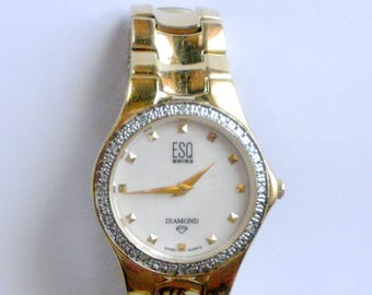 Movado ESQ Diamond Ladies Watch, Authentic ESQ Battery Operated Women's Wrist Watch, Authentic ESQ Watch, Vintage Ladies Watch, Gift for Her