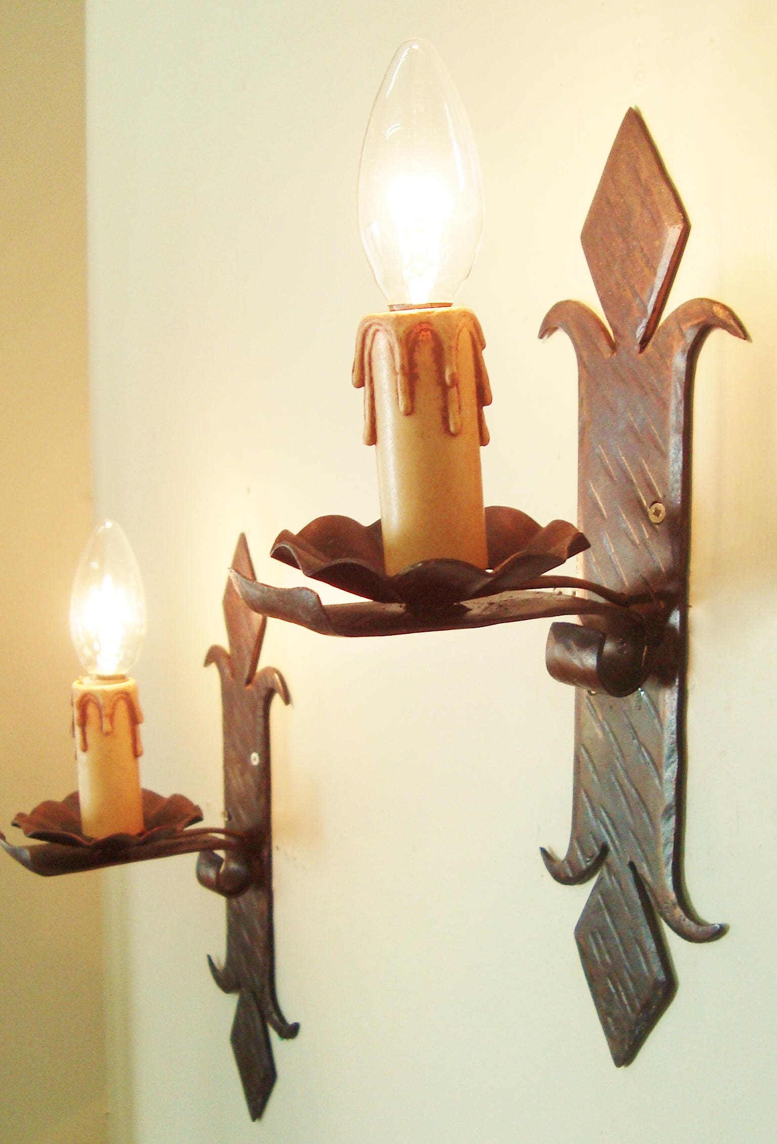 Wrought iron sconces pair wall lights french country vintage rustic wrought iron sconces pair wall lights french country vintage rustic farmhouse style aloadofball Gallery