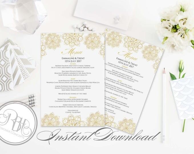 Gold Mandala Henna Wedding Menu Template-Instant Download -DIY Text Editable-Gold Mandala Henna-Shelley