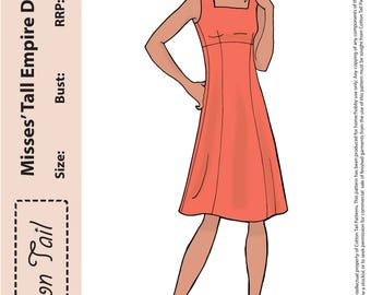 70's inspired Sewing Pattern Cotton Tail 1601 Misses' Tall EMPIRE DRESS Bust 76cm-112cm