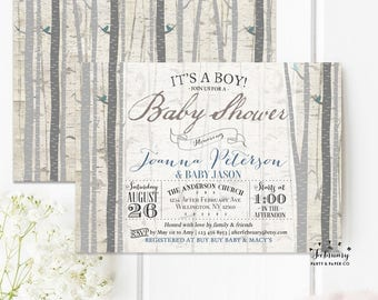 Rustic Baby Shower Invitation Boy, Baby Shower Invite Boy Woods Forest Baby Shower Invitation Typography - Printable OR Printed No.645BABY