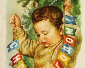 Happy New Year! Artist E Gundobin - Used Vintage Soviet Postcard 1959. Boy Children Christmas decorations Garland Bunting Flags Banner Print