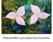 White Trillium PDF Pattern Postcard/Art Quilt - Quilt Pattern - Quilting Patterns - Gifts for Quilters - Art Quilt Patterns - Art Quilt
