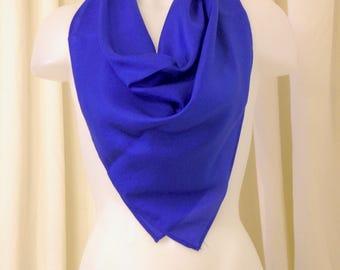Vintage Silk Scarf, Square Scarf, Silk Scarf, Hair Scarf, Neck Scarf, Headband, Ascot in Lightweight Cobalt Blue Silk