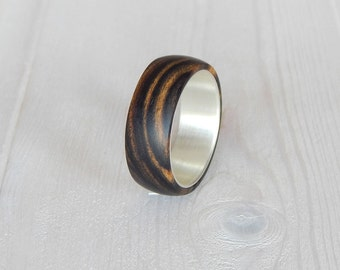 Silver wood ring.