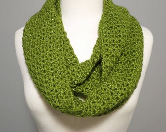 Crochet Infinity Scarf in Sparkly Green