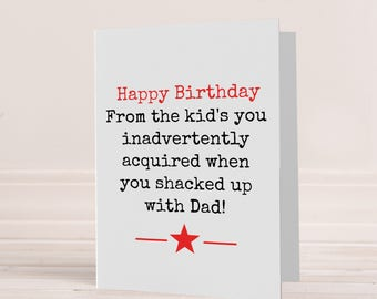 Step parent card, step father Birthday card, Birthday card for step Mum, card for step dad, Funny step-dad card, Step parent Birthday card
