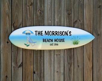 Beach House Surfboard Signs. Lake Beach House Family name wooden sign. Wood tiki bar wall decor. Housewarming gift.