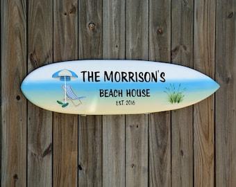 Lake Beach House Family name sign. Wood tiki bar decor. Beach House Decoration wood board. Wall decor Idea. Surfboard wooden sign