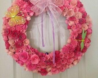 Baby Girl paper flower wreath