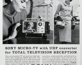 1963 Sony TV Ad - 1960's Micro TV With UHF Converter - Retro Portable Television Set